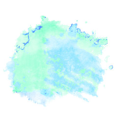 Green and blue watercolor stain isolated on white vector
