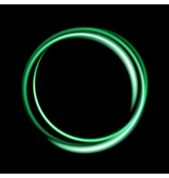 Green neon circle background vector image