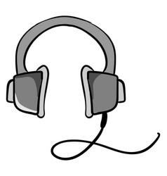 grey headphones on white background vector image