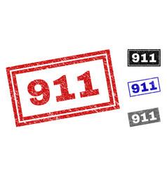 grunge 911 textured rectangle stamp seals vector image