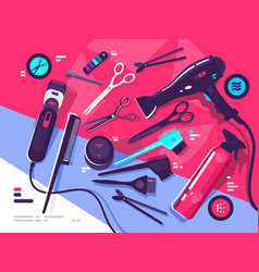 hairdressing tools hairbrush and hair dryer vector image