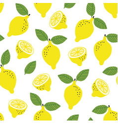Hand drawn seamless pattern with yellow lemon vector