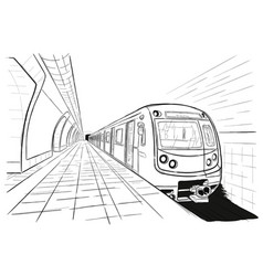 Hand drawn sketch subway station vector