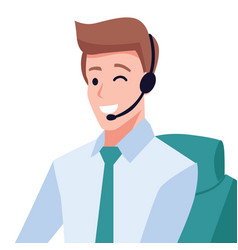 handsome guy customer service operator vector image
