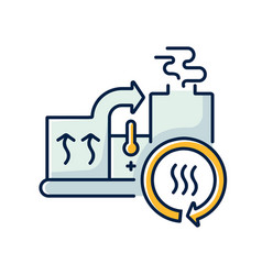 Heat recovery system rgb color icon vector