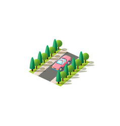 isometric pink cabriolet vector image