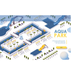 Landing page isometric water park hotel outdoor vector
