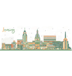 Lansing michigan city skyline with color buildings vector