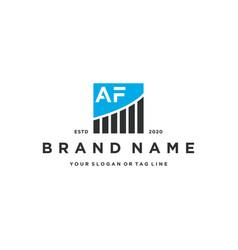 Letter af chart financial logo design vector