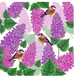 lilac flowers and birds pattern vector image