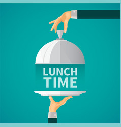 Lunch time concept with cloche lid cover in flat vector