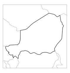 Map niger black thick outline highlighted with vector