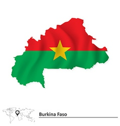 Map of Burkina Faso with flag vector image