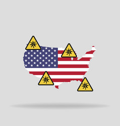 map with flag usa and pandemic stop novel vector image