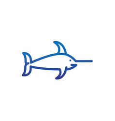 marlin fish marine life thick line blue vector image