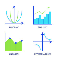math science icons set in flat style vector image