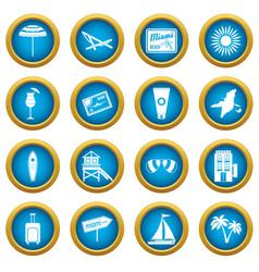 Miami icons blue circle set vector