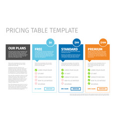 Minimalist pricing table template vector