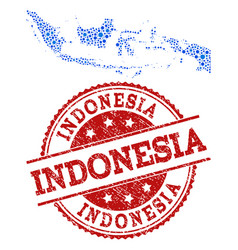 mosaic map of indonesia with linked circles and vector image