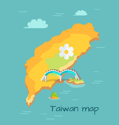 new moon bridge marked on taiwan map vector image