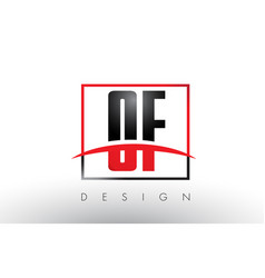 of o f logo letters with red and black colors and vector image