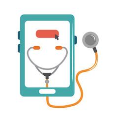 online doctor smartphone stethoscope medical vector image