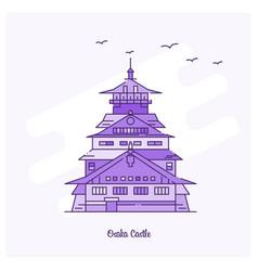 osaka castle landmark purple dotted line skyline vector image