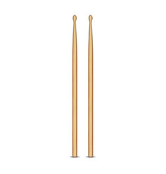 Pair wooden drum sticks 3d object isolated on vector