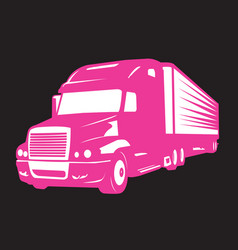 Pink big truck and symbol of women vector
