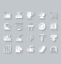 Pool equipment simple paper cut icons set vector