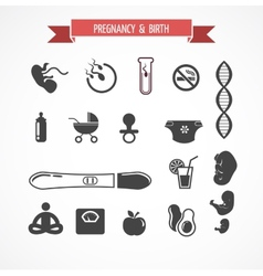 Pregnancy and birth icon set vector