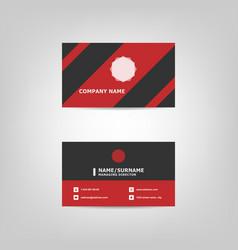 red and black business card design template vector image