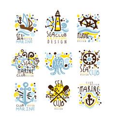 sea club marine club set for label design yacht vector image