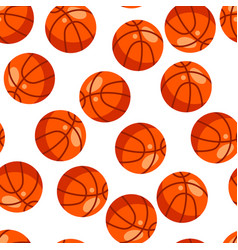 seamless pattern with red basketball balls in flat vector image