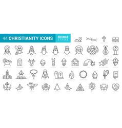 set 44 minimal christian icons on white vector image