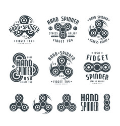 set hand spinner logo emblems and icons vector image