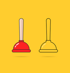 set of two thin line plunger icon vector image