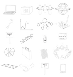 Set with Business Contour Icons vector image