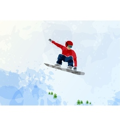 Snowboarder at jump inhigh mountains vector