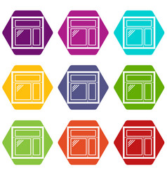 Square window frame icons set 9 vector