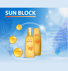 Sunblock uv protection ads template sun care vector