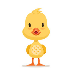 Sweet yellow duckling emoji cartoon character vector