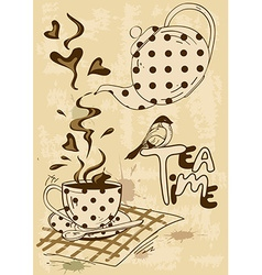 Tea party invitation with teapot and teacup vector image