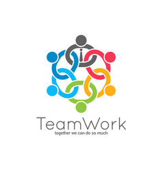 Teamwork chain logo business team union concept vector