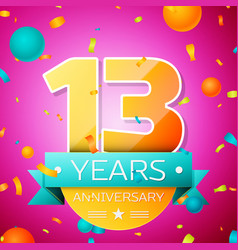 thirteen years anniversary celebration design vector image