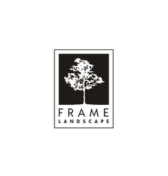 tree silhouette frame landscape logo design vector image