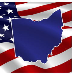 united states ohio on usa flag map vector image