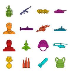 War icons doodle set vector