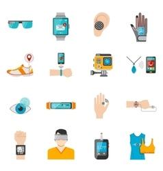 Wearable Technology Icons Set vector