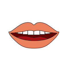 White background with smiling mouth and thick vector
